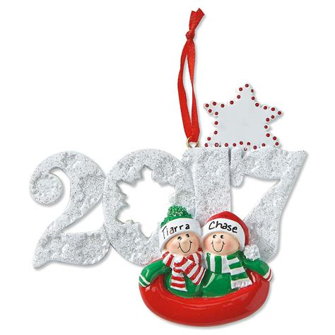 sledding couple personalized christmas ornaments current