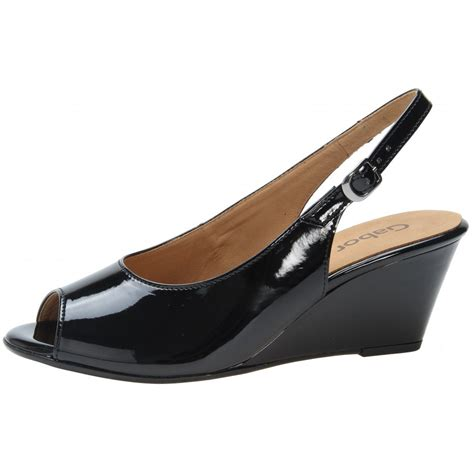 Wedges Sleting Black betti 85 512 97 black patent wedge sling back shoe