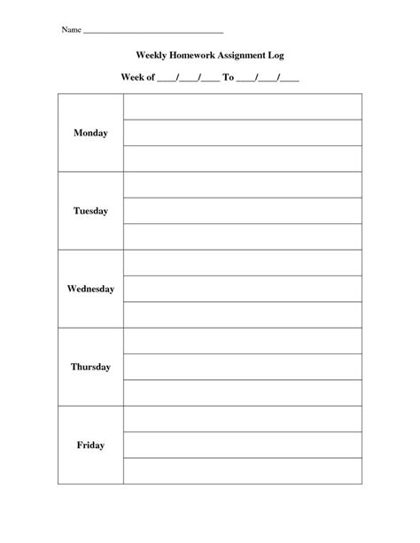 primary homework assignment sheets weekly homework