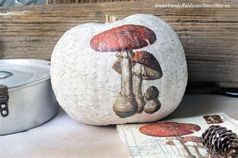 decorar calabaza decorar calabazas con chalk paint y papel