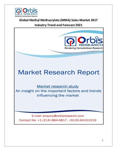 Global Methyl Methacrylate Mma Sales Market 2017 5 Trend Predictions 2017