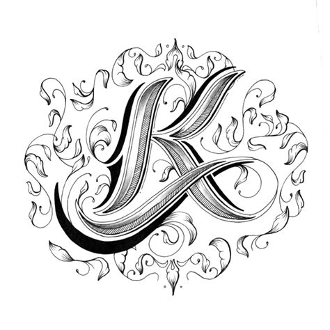 Letter K Sketches by Intricately Alphabet With Individually Designed