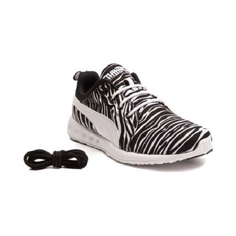 carson runner leopard or zebra mesh white sole shoes
