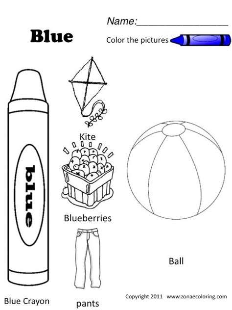 collection of color blue worksheet ommunist