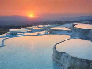 pamukkale hot springs sunrise over the pamukkale hot springs in denizli province