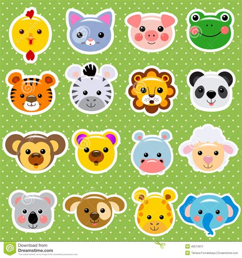 Animal Stickers animal faces sticker collection stock vector image 40574011