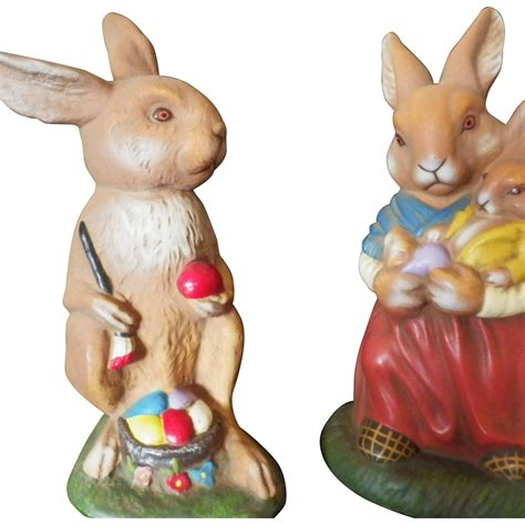 Vintage Bunny Figurine Shop Collectibles - vintage pair of marolin papiermache rabbit figurines from