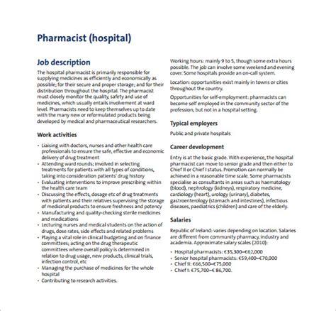 Pharmacist Duties by 9 Pharmacist Description Templates Free Sle Exle Format Free