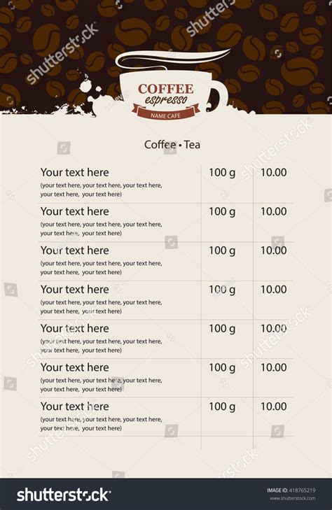 coffee price list template menu price list for coffee beans and coffee drops stock