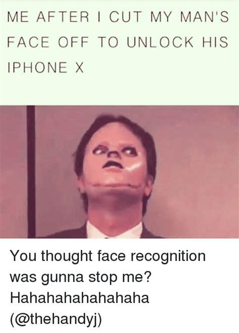 cut  mans face   unlock  iphone