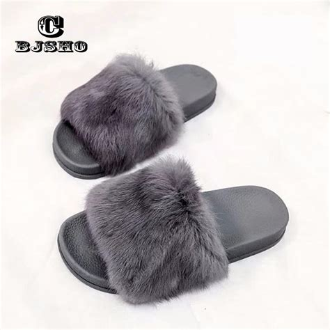 fluffy house slippers cbjsho fluffy fur slippers women open toe soft indoor