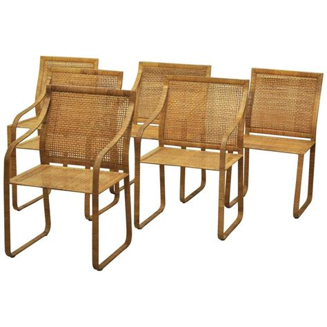 Woven Rattan Dining Chairs Set Of Six Harvey Probber Woven Rattan Dining Chairs At 1stdibs
