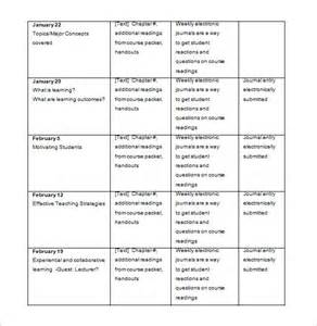 college syllabus template college schedule template 7 free sle exle format