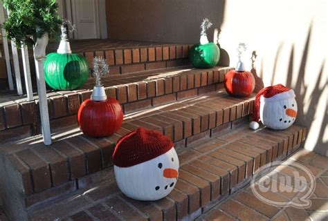 pumpkins decorated for christmas painted pumpkins for this idea use a clay pot for a hook base and