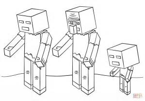 minecraft zombies coloring free printable coloring