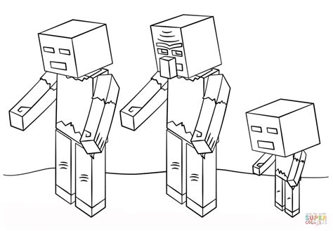 minecraft zombies coloring page free printable coloring