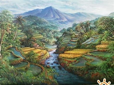 Lukisan Pemandangan Rumah Desa Klasik 1 seni rupa esensi ide dalam seni rupa