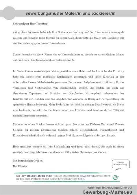 Kfz Lackierer Helfer by Kostenlose Bewerbungsvorlage Maler In Und Lackierer In