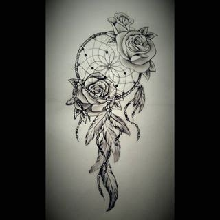 dreamcatcher tattoo with roses meaning drawn dreamcatcher rose pencil and in color drawn