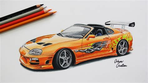 cars drawings toyota supra the fast and the furious car drawing