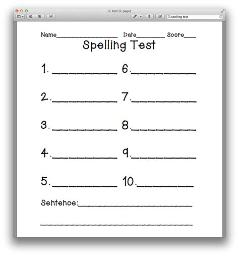 spelling test template spelling test paper 10 words wesharepics