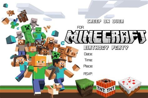 free minecraft birthday invitation printable