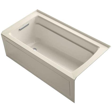almond bathtub kohler archer 5 ft acrylic left drain rectangular alcove whirlpool bathtub in almond
