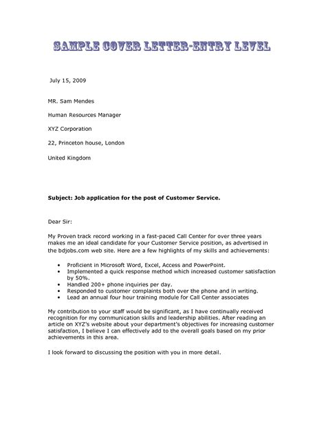 Entry Level Customer Service Cover Letter Exles 10 formal cover letter sle for an entry level