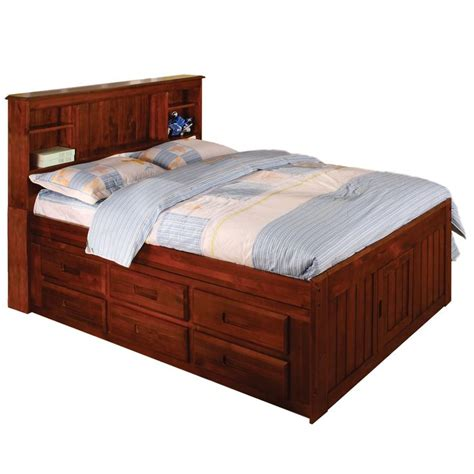 Small King Size Bed Frame American Merlot Solid Pine Sized 12 Drawer Captain S Bed Merlot Size 12 Drawer