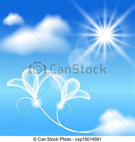 bloemen en wolken clip art vector van zon bloemen wolken transparant
