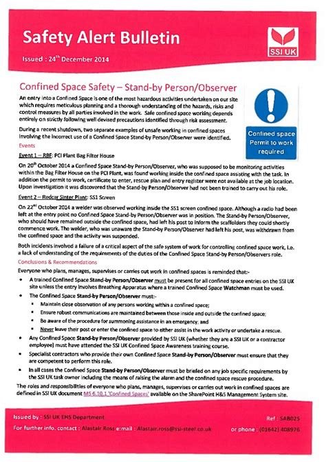 safety bulletin template safety alert confined space entry standby person observer