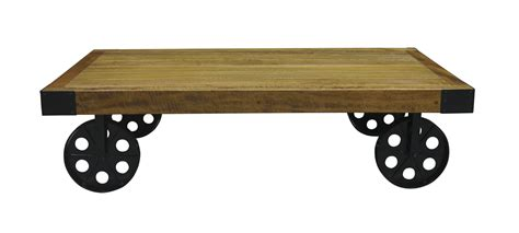 loft rustic re engineered industrial coffee table with wheels