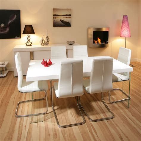 White Gloss Dining Table Set Stunning Dining Set White Gloss Table 6 White Modern Chairs