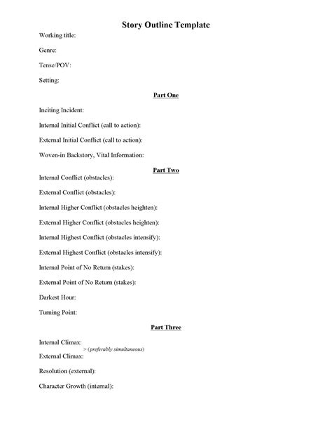 story outline template for story outline template wikidownload