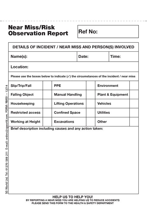 near miss report template near miss incident report template professional