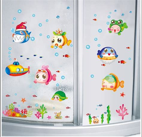 kids bathroom wall stickers aliexpress com buy sea fish plane wall stickers bathroom