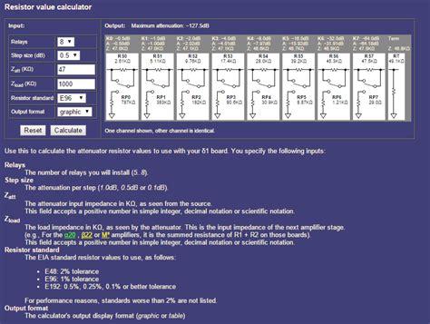 relay resistor calculator la skala attenuator dimdim s