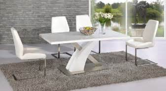 Full white high gloss glass dining table and 6 chairs homegenies