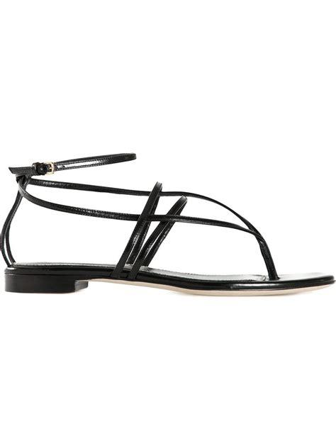 black strappy sandals flat sergio strappy flat sandals in black lyst