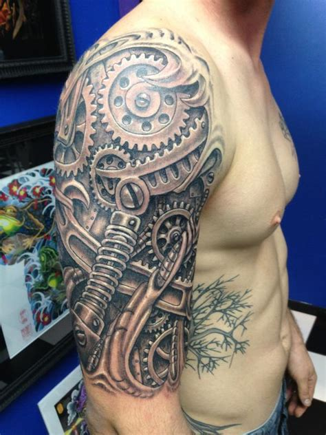 gear tattoo sleeve biomech gears by pooch tattoos