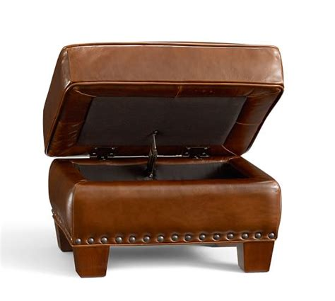 leather ottoman with nailheads irving leather storage ottoman with nailheads pottery barn