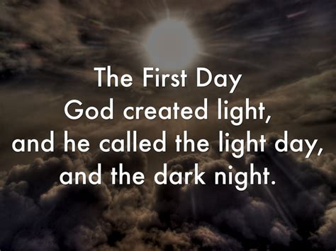 who created the first light what day did god create light the seven days of creation