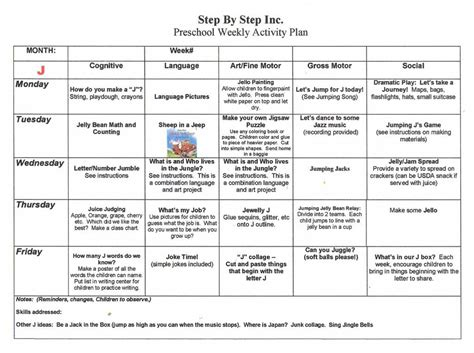 preschool lesson plan template daily weekly monthly for word