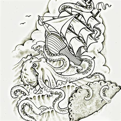 boat and octopus drawing the octopus and ship art tattoo google search tattoo
