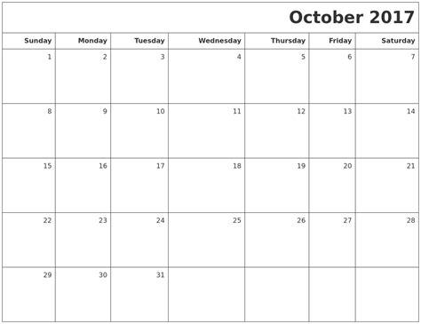 printable calendar 2017 for october october 2017 printable blank calendar