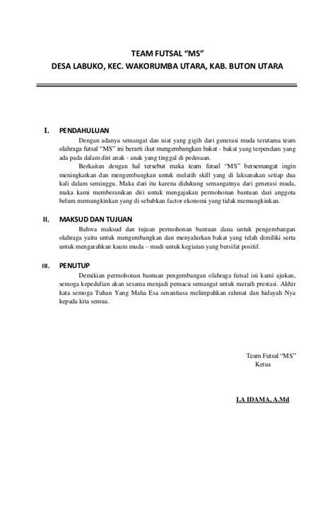 membuat proposal futsal proposal permohonan bantuan team futsal tahun anggaran 2014