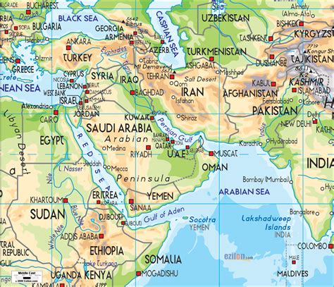 middle east map landforms physical map of middle east ezilon maps