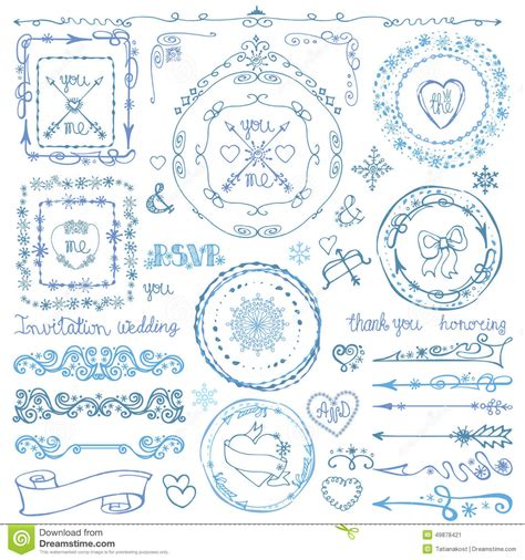 doodle ribbon vector free winter doodle decor set frame ribbon border stock
