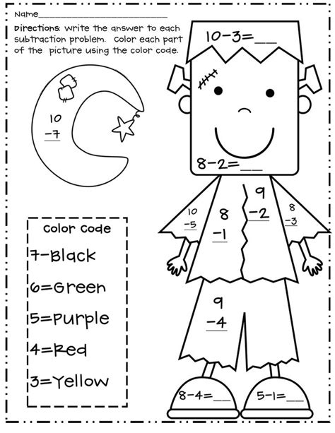 coloring pages halloween color by number subtraction