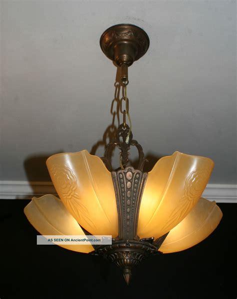 vintage art deco ceiling light fixture antique vintage 5 light slip shade art deco light fixture